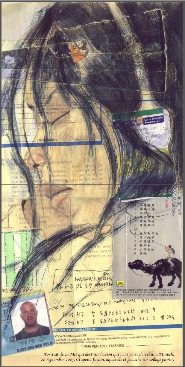 Li Mei. Grafite, carboncino, acquerello e Gouache su patchwork. Cm. 30 x 40 circa